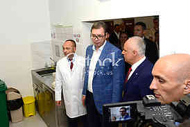 president of Serbia Aleksandar Vucic visiting the children's clinic in Tirsova Street